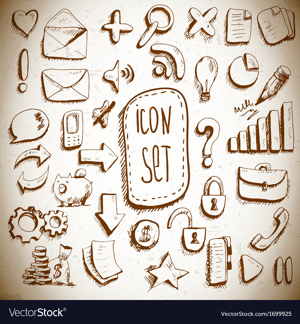 Doodle set of vintage internet icons vector | Price: 1 Credit (USD $1)