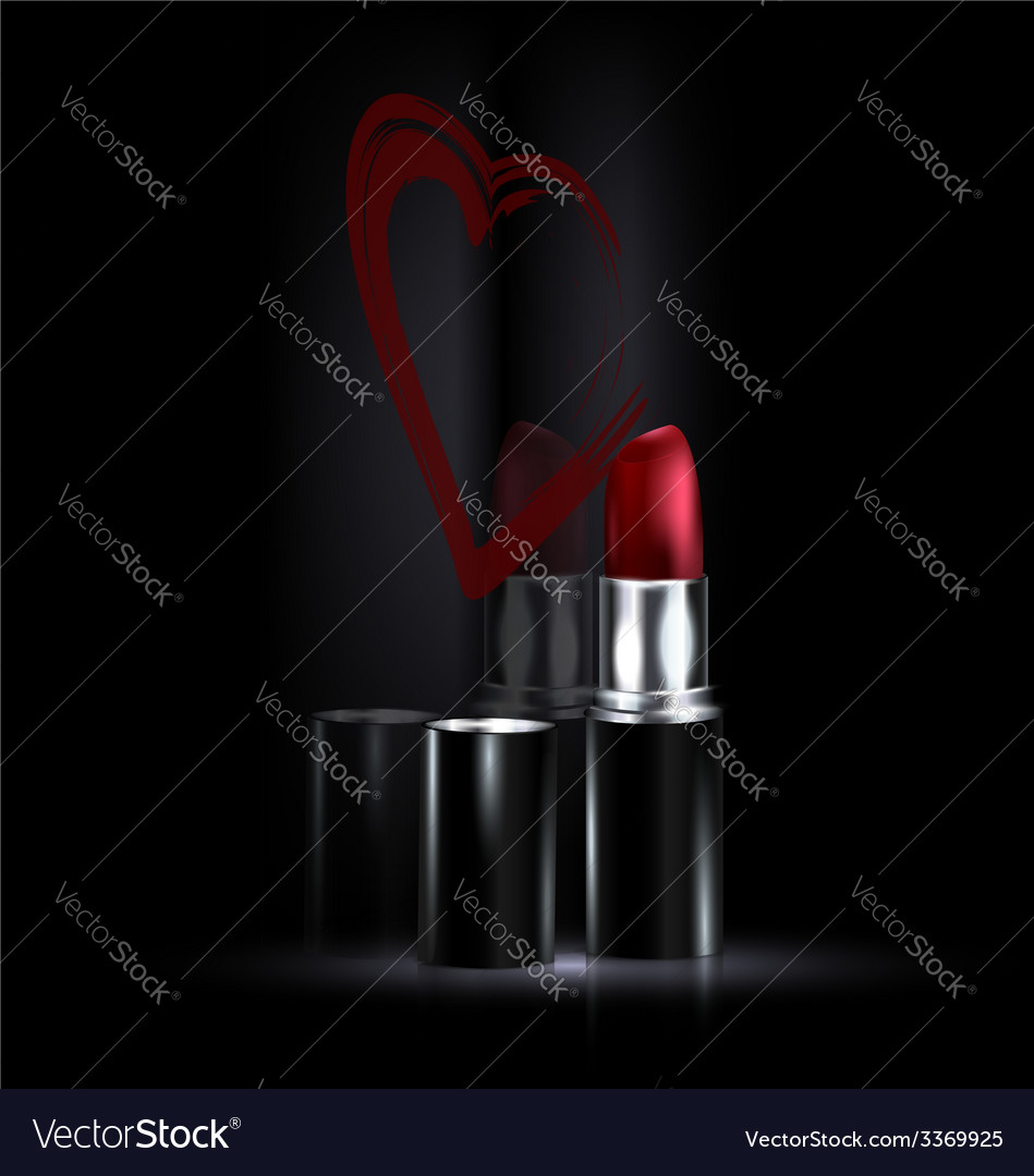 Heart and red lipstick vector | Price: 1 Credit (USD $1)