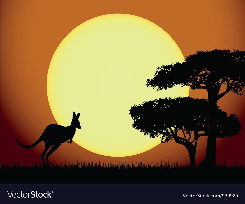 Kangaroo at sunset vector | Price: 1 Credit (USD $1)