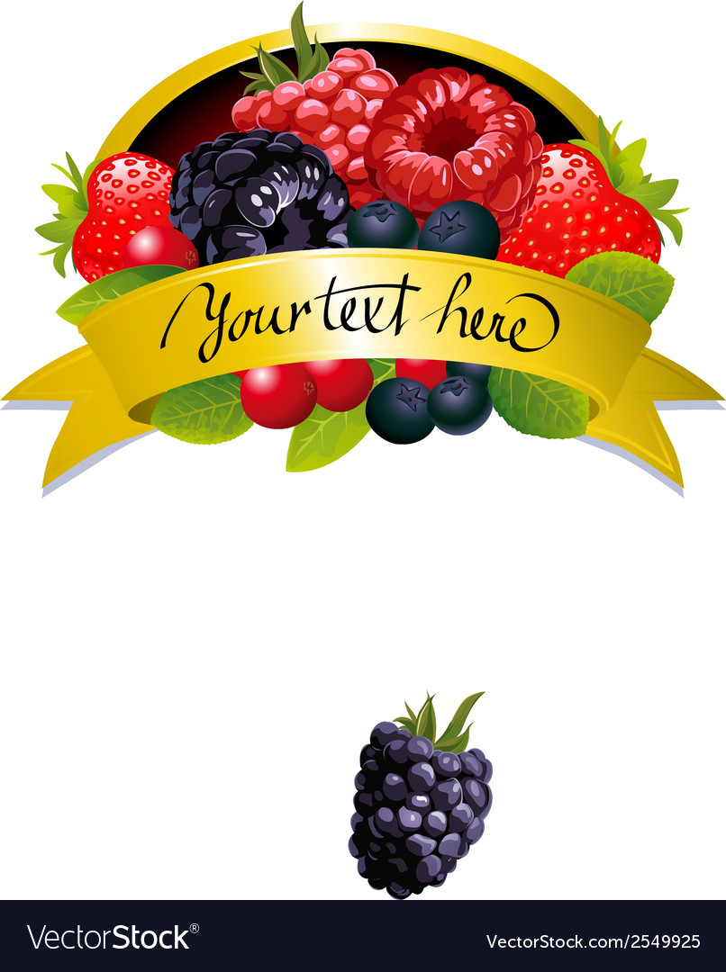 Label with berries vector | Price: 1 Credit (USD $1)
