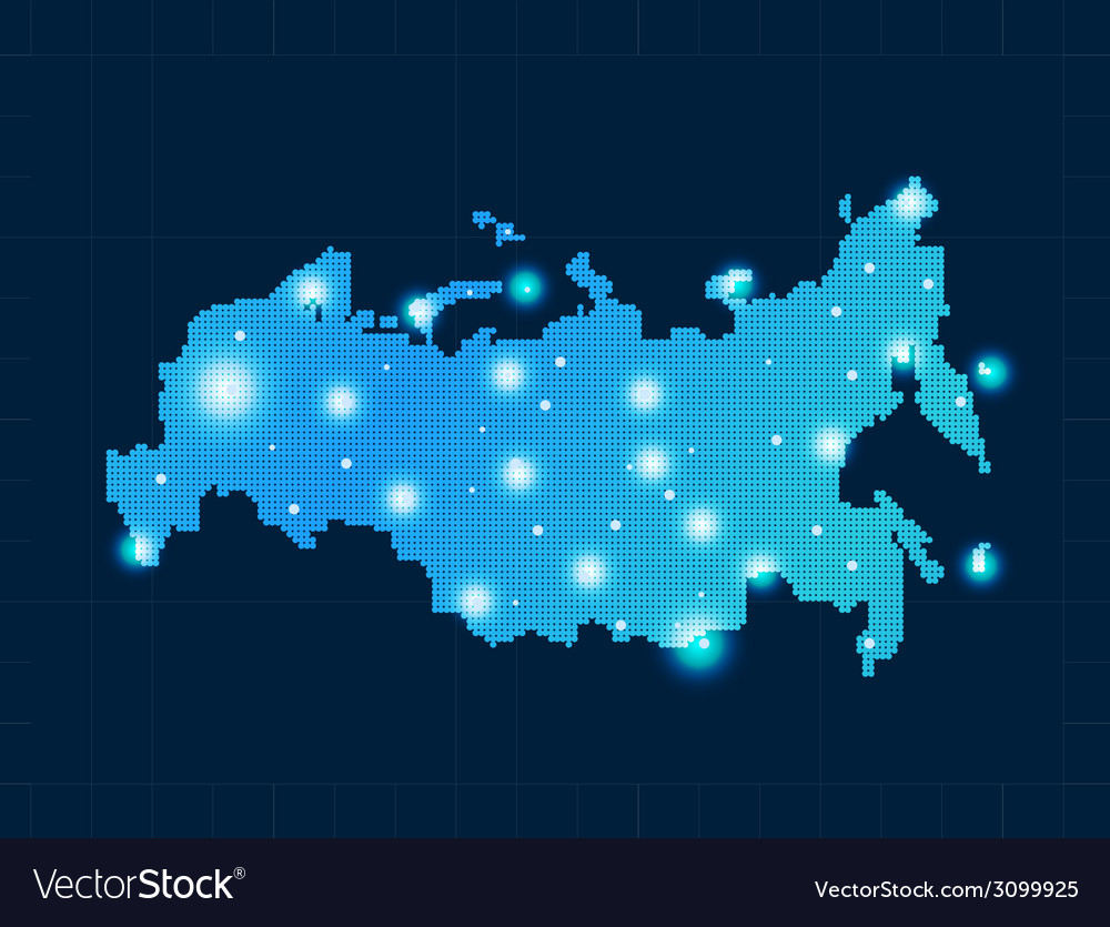 Pixel russia map with spot lights vector | Price: 1 Credit (USD $1)