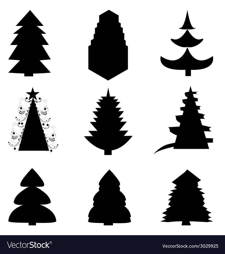 Set of christmas trees vector | Price: 1 Credit (USD $1)