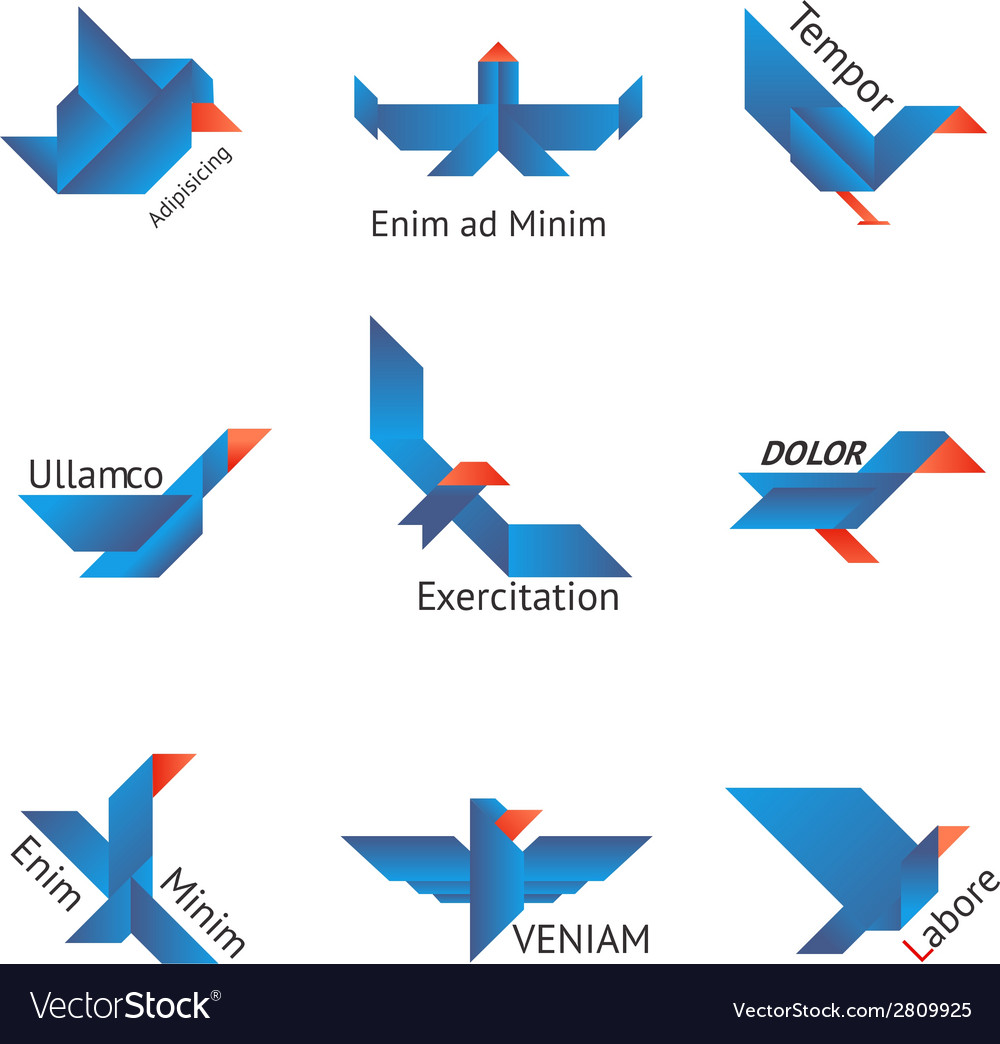 Set of origami birds vector | Price: 1 Credit (USD $1)
