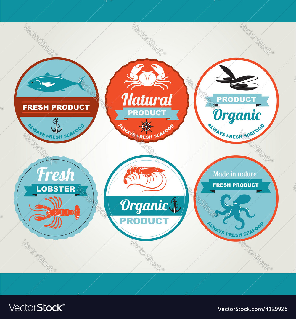 Set of seafood icons crab fish shrimp retro labels vector | Price: 1 Credit (USD $1)