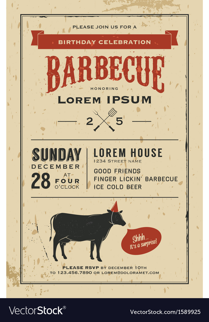 Vintage birthday party barbecue invitation vector | Price: 1 Credit (USD $1)