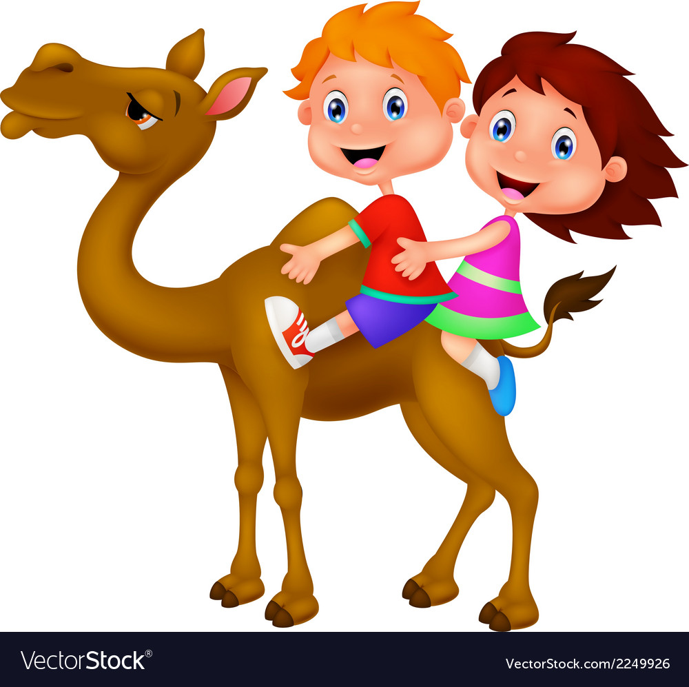 Cartoon boy and girl riding camel vector | Price: 1 Credit (USD $1)