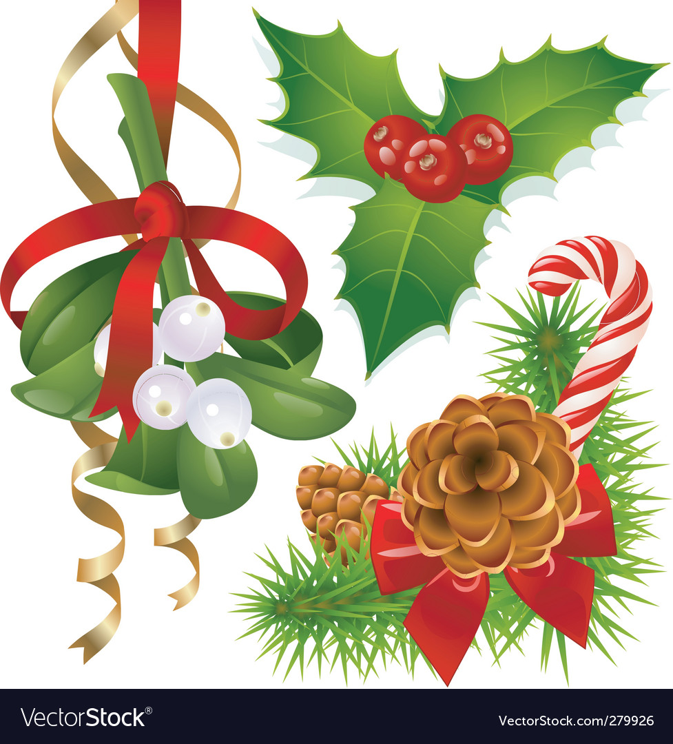 Christmas tree mistletoe and vector | Price: 1 Credit (USD $1)