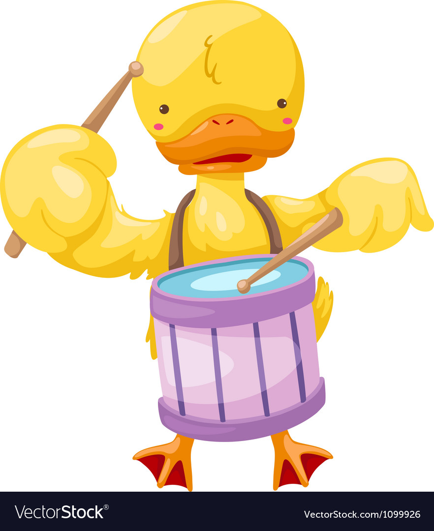 Circus duck play drum vector | Price: 1 Credit (USD $1)