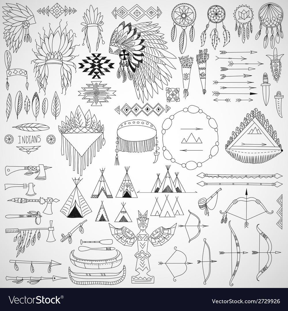 Collection of tribal doodle design elements frames vector | Price: 1 Credit (USD $1)