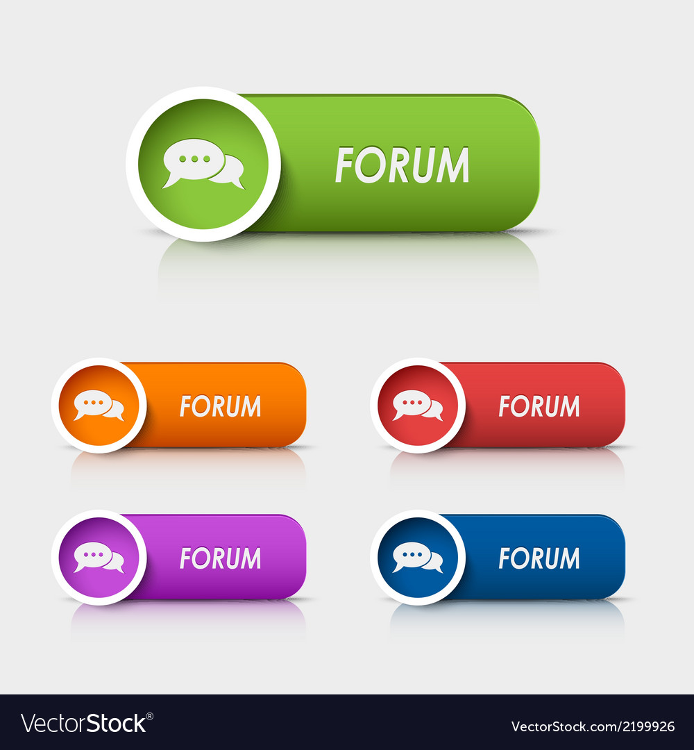 Colored rectangular web buttons forum vector | Price: 1 Credit (USD $1)