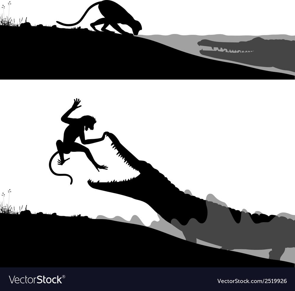 Crocodile and monkey vector | Price: 1 Credit (USD $1)