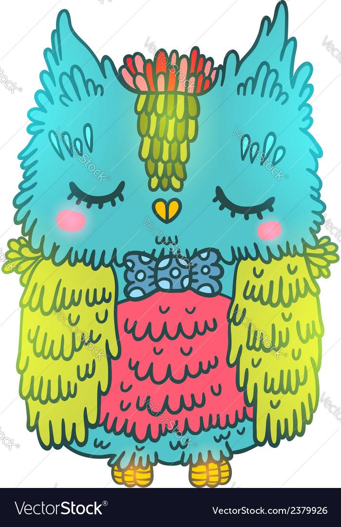 Cute cartoon owl animal vector | Price: 1 Credit (USD $1)