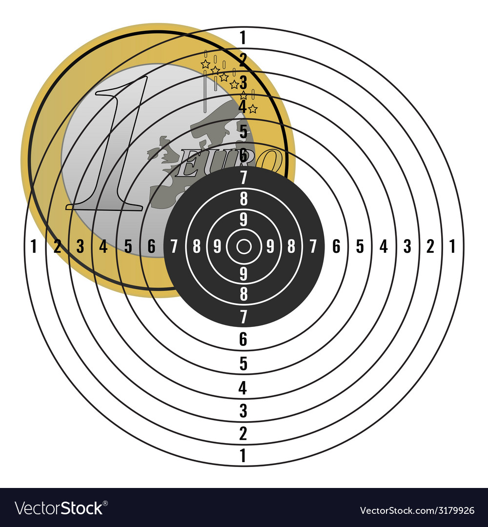 Euro on target vector | Price: 1 Credit (USD $1)