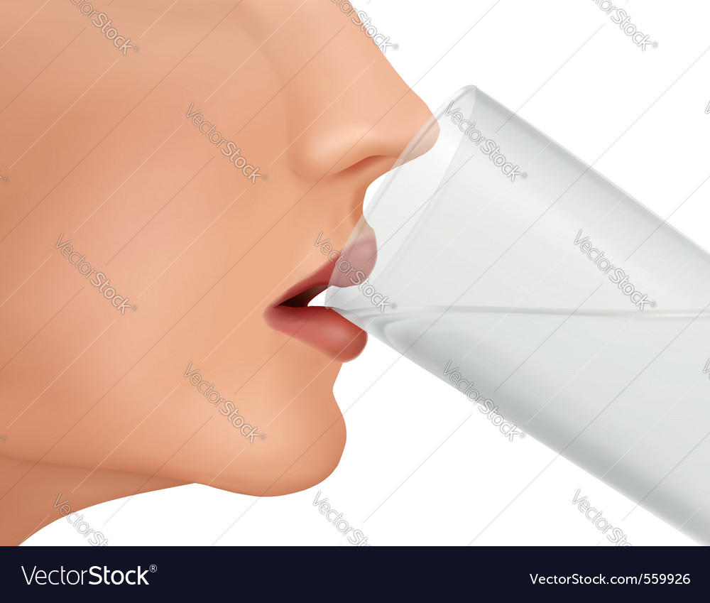 Face of drinking young woman vector | Price: 1 Credit (USD $1)