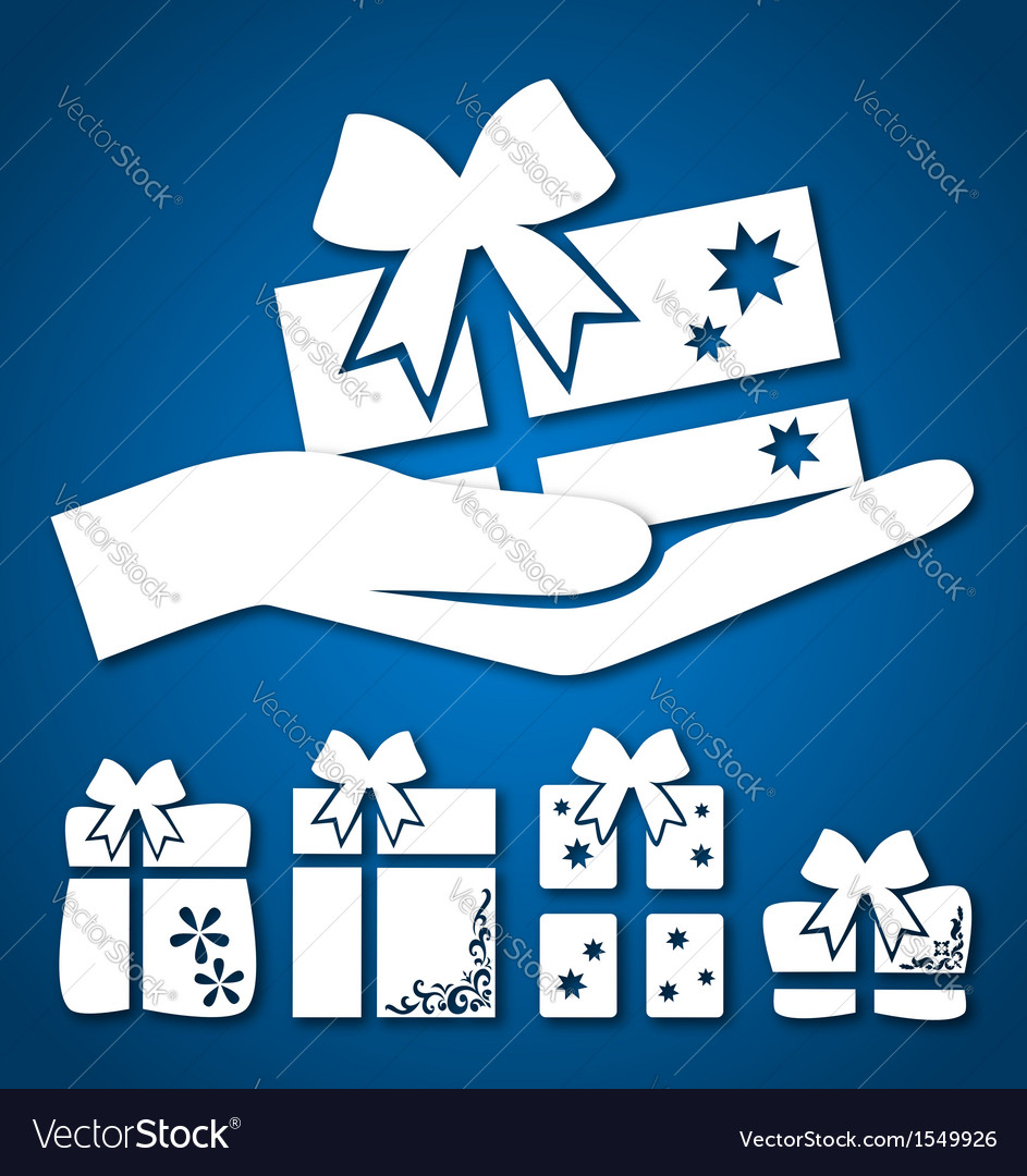 Gift in hand vector | Price: 1 Credit (USD $1)