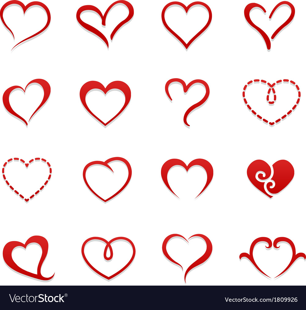 Heart valentine icon set vector | Price: 1 Credit (USD $1)