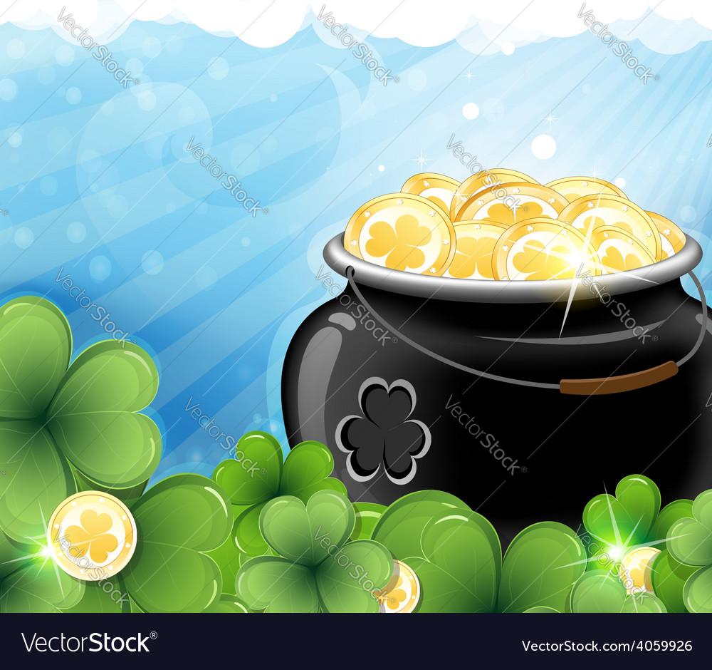 Leprechaun treasure and shamrock clover vector | Price: 3 Credit (USD $3)