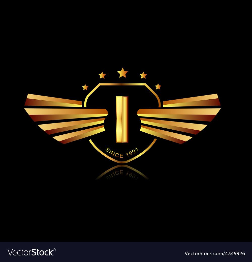 Letter i winged crests logo alphabet logotype vector | Price: 1 Credit (USD $1)