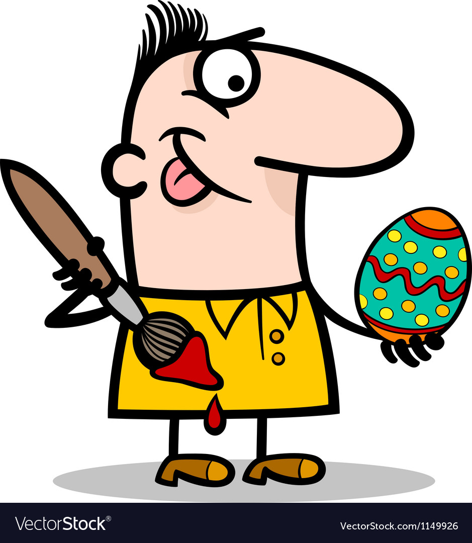 Man painting easter egg cartoon vector | Price: 1 Credit (USD $1)