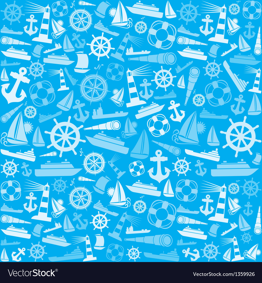 Nautical and marine icons seamless background vector | Price: 1 Credit (USD $1)