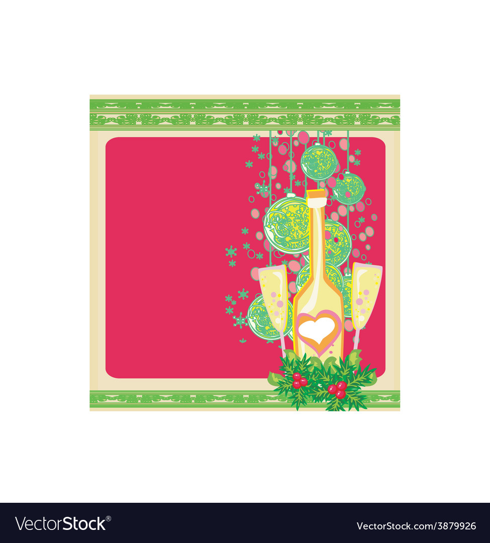 New year greeting card with champagne vector | Price: 1 Credit (USD $1)