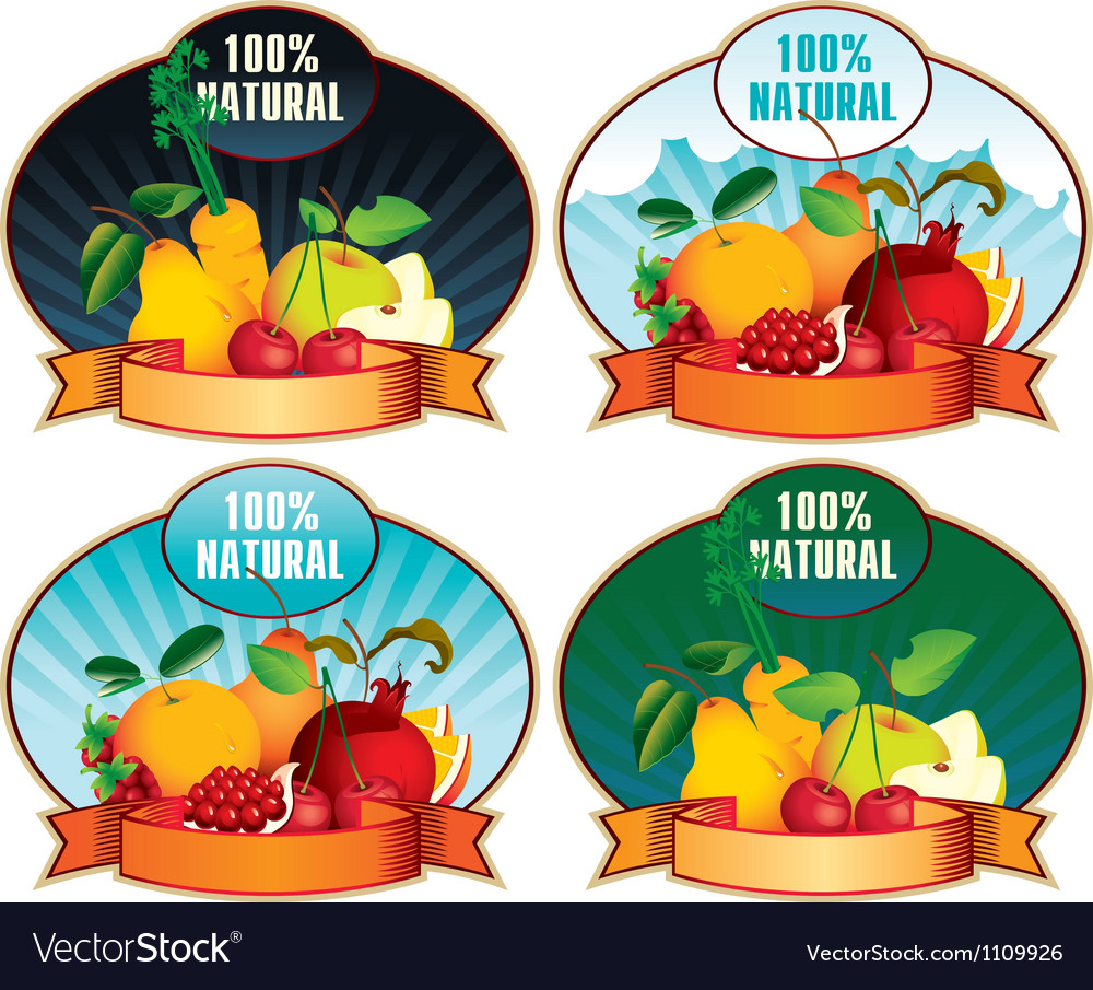 Product labels with fruit vector | Price: 3 Credit (USD $3)