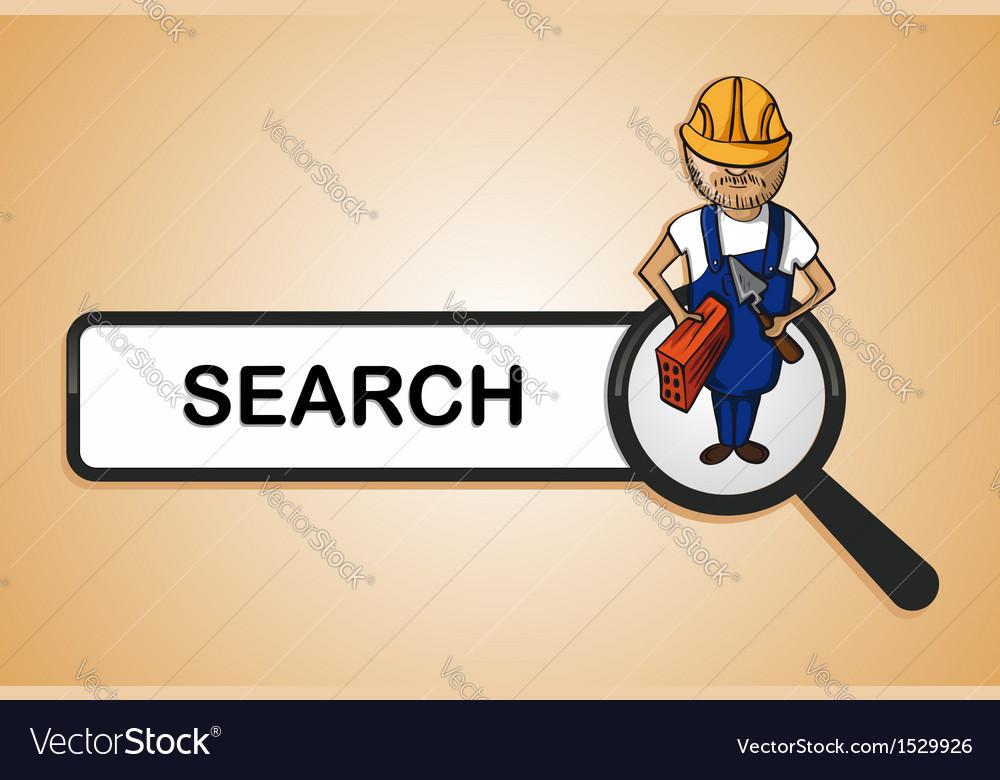 Service search constructor boy cartoon vector | Price: 1 Credit (USD $1)