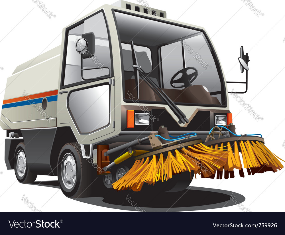 Sweeper truck vector | Price: 5 Credit (USD $5)