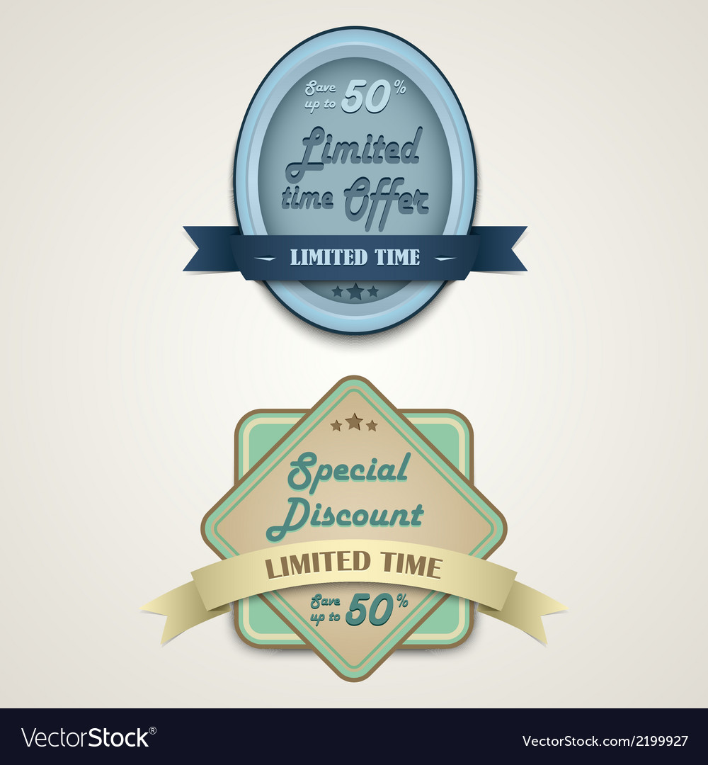 Discount vintage retro design style vector | Price: 1 Credit (USD $1)