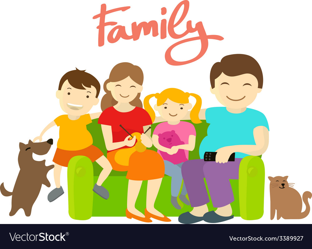Family on the couch vector | Price: 1 Credit (USD $1)