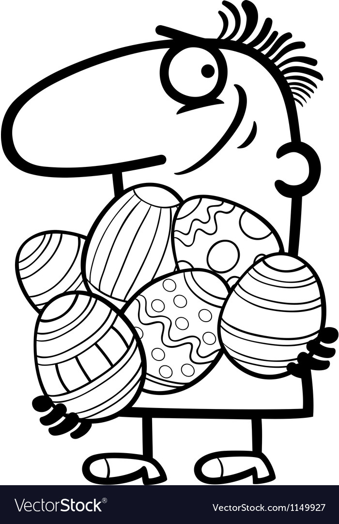 Man with easter eggs cartoon vector | Price: 1 Credit (USD $1)