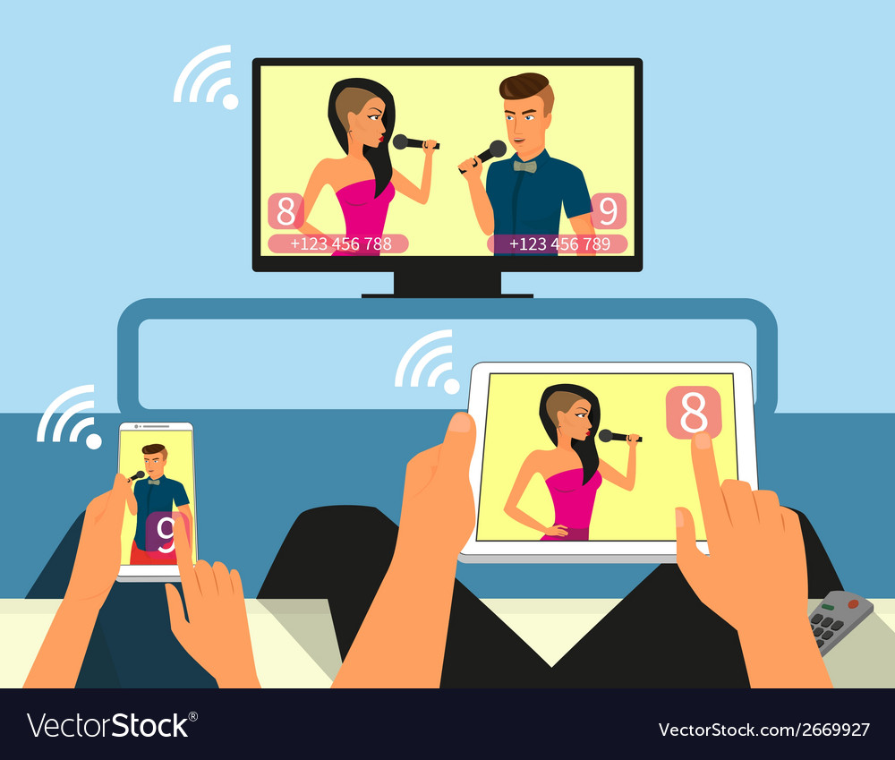 Multiscreen interaction man and woman are vector | Price: 1 Credit (USD $1)