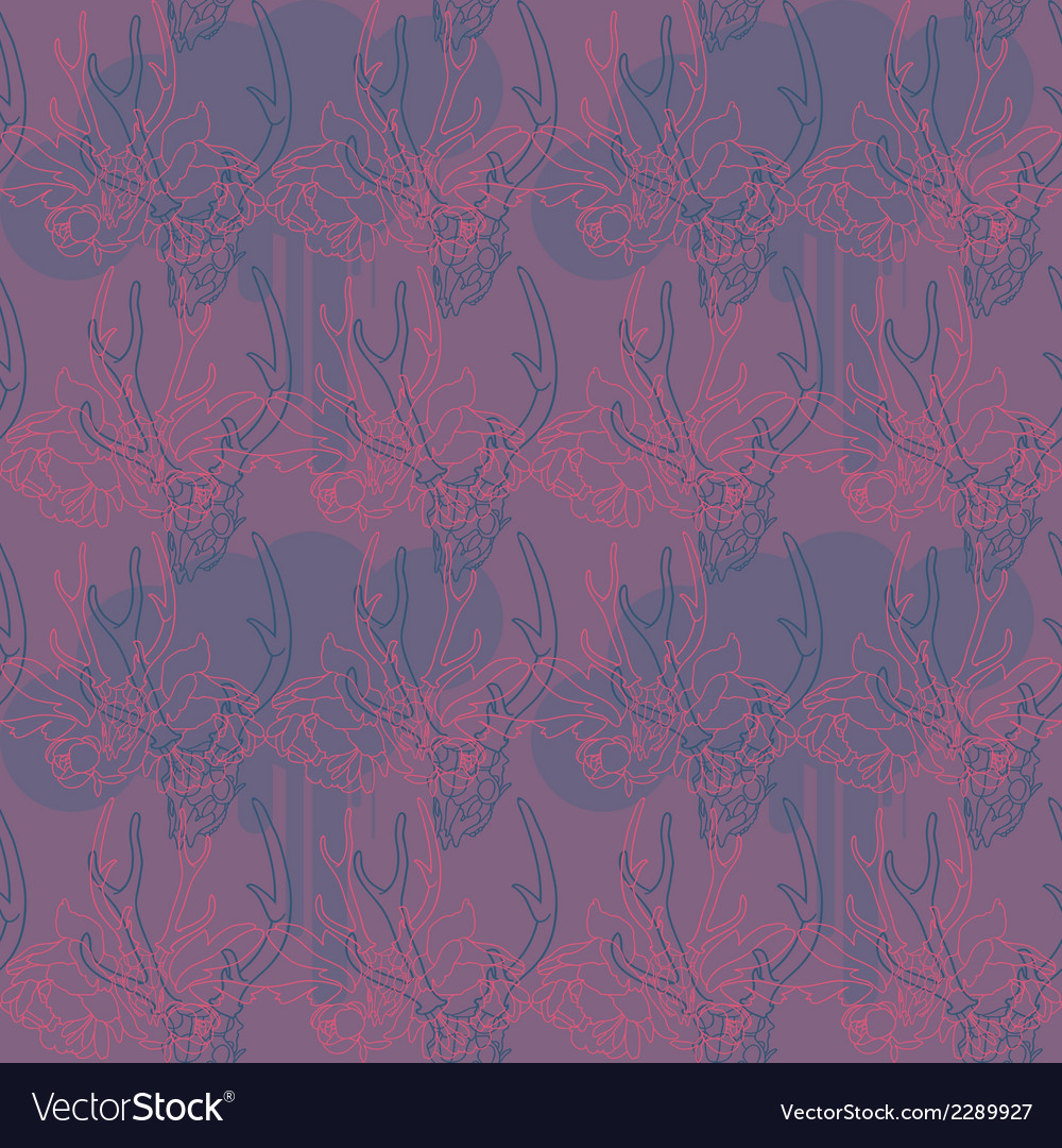 Pattern with flowers and a deer skull vector | Price: 1 Credit (USD $1)