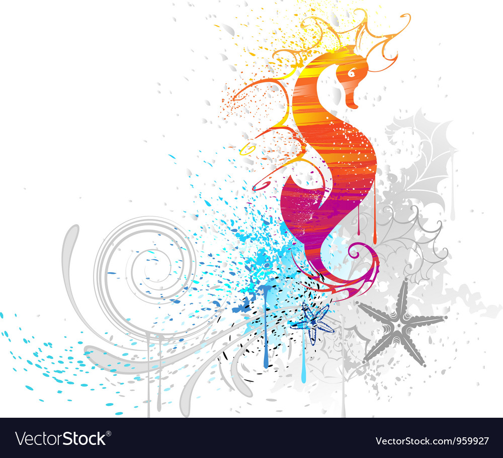 Sea horse drawn with paint vector   Price: 1 Credit (USD $1)