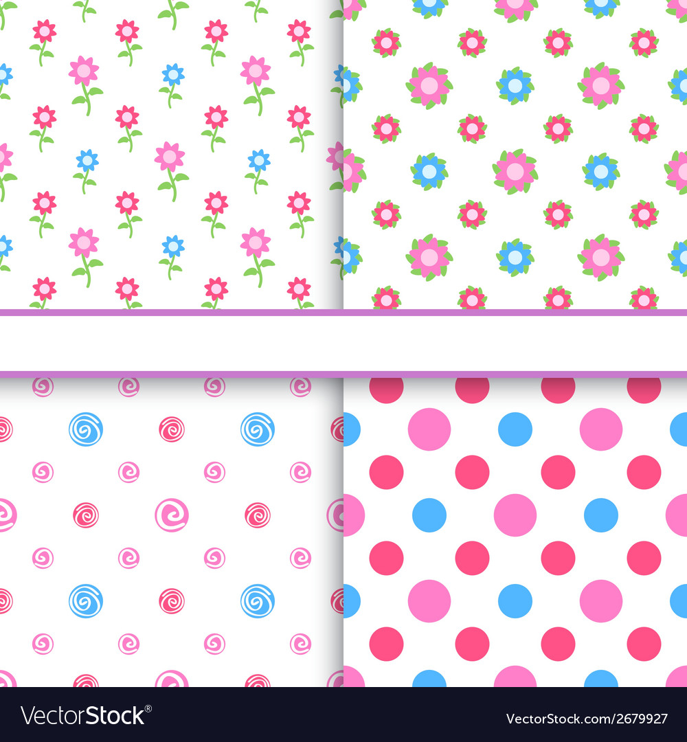 Set of floral and polka dot fabric seamless vector | Price: 1 Credit (USD $1)
