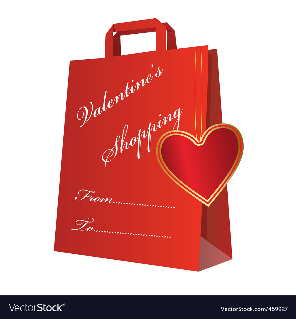 Valentine shopping bag vector | Price: 1 Credit (USD $1)