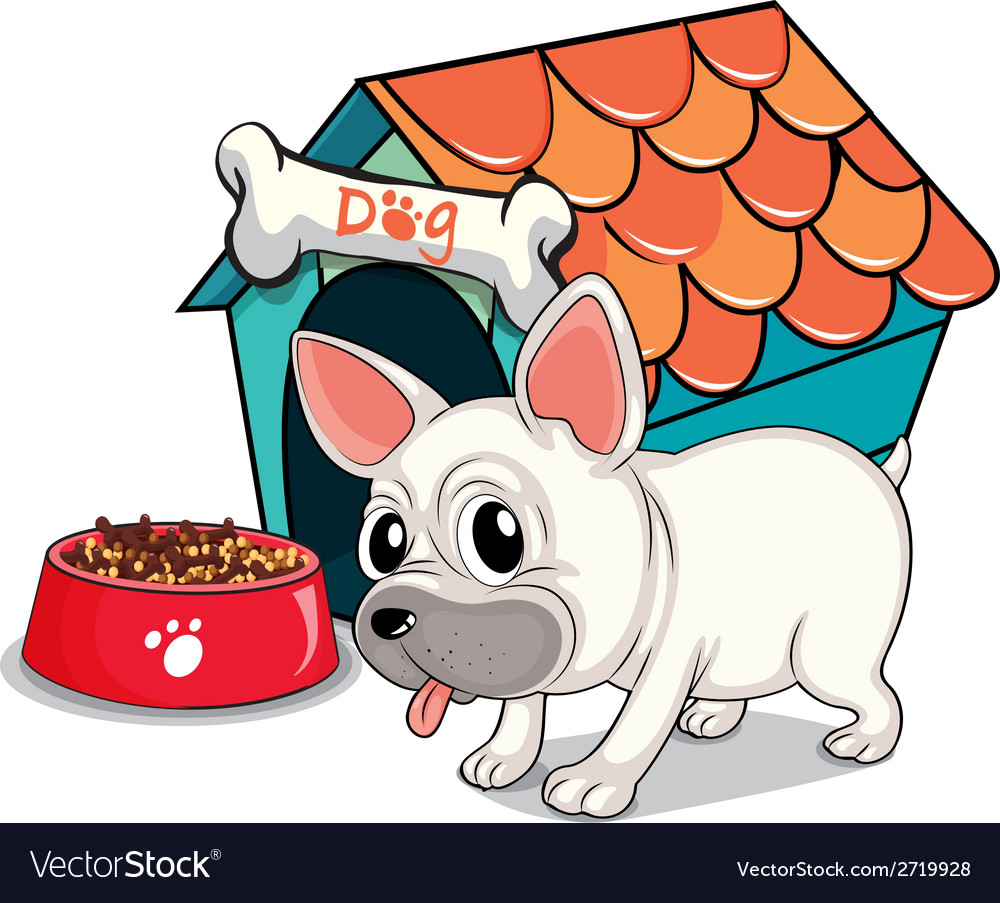 A cute bulldog outside the doghouse vector | Price: 1 Credit (USD $1)