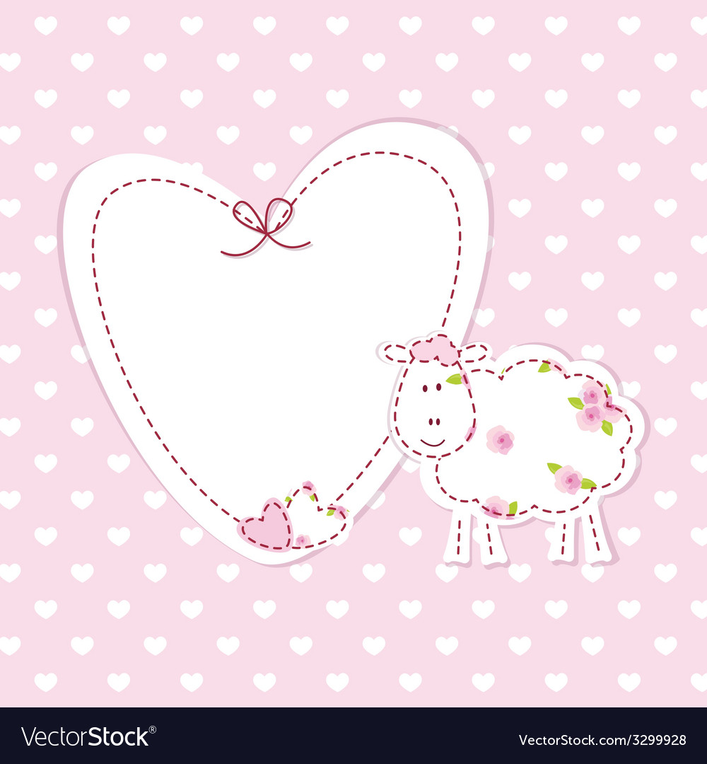 Baby pink background with sheep vector | Price: 1 Credit (USD $1)
