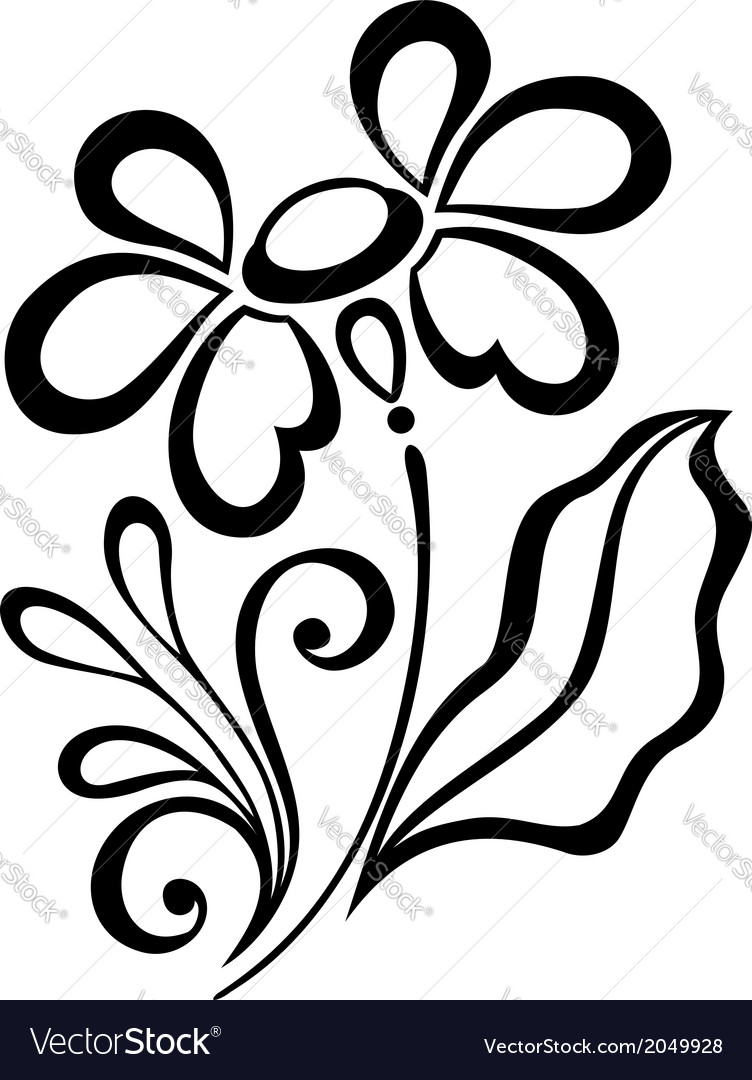 Beautiful decorative flower with leaves vector   Price: 1 Credit (USD $1)