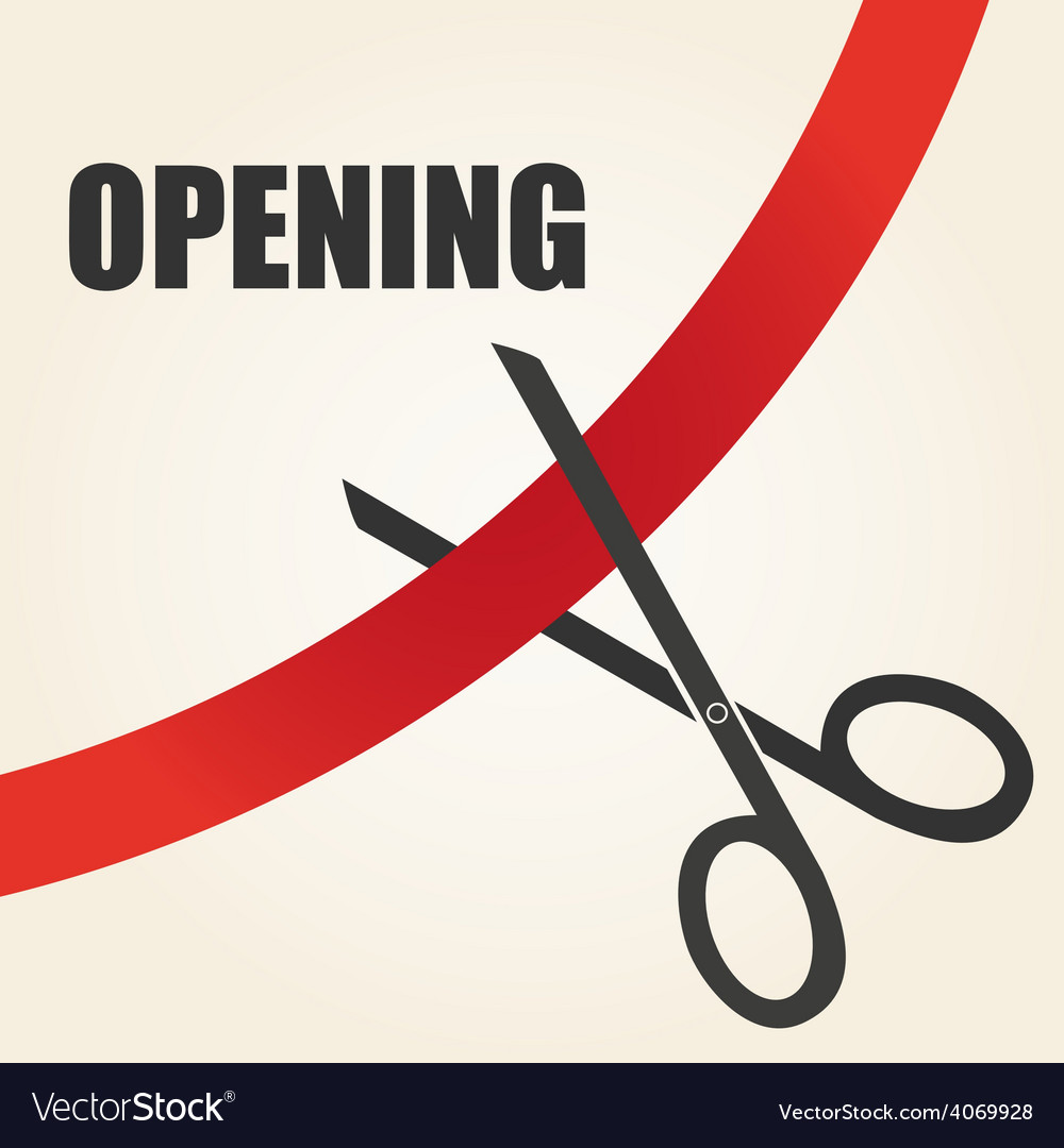 Celebration of opening something with scissors and vector | Price: 1 Credit (USD $1)