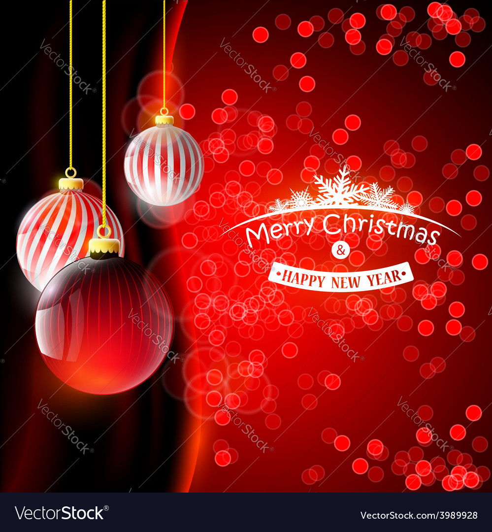 Christmas background with red balls vector | Price: 1 Credit (USD $1)