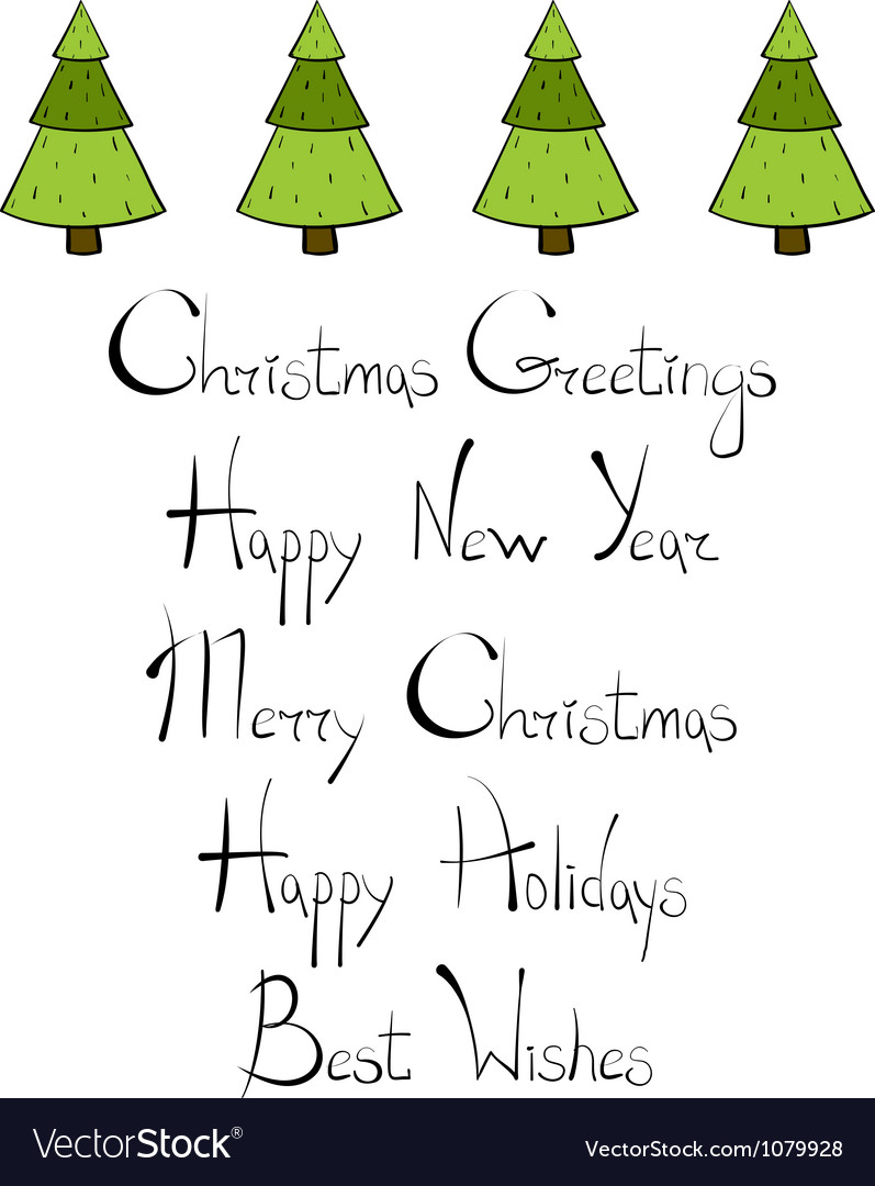 Christmas trees new year lettering vector | Price: 1 Credit (USD $1)