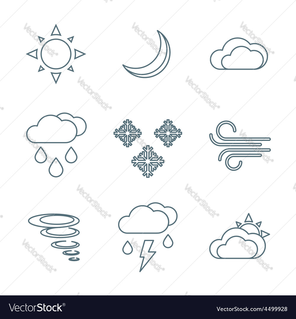 Dark outline weather forecast icons set vector   Price: 1 Credit (USD $1)