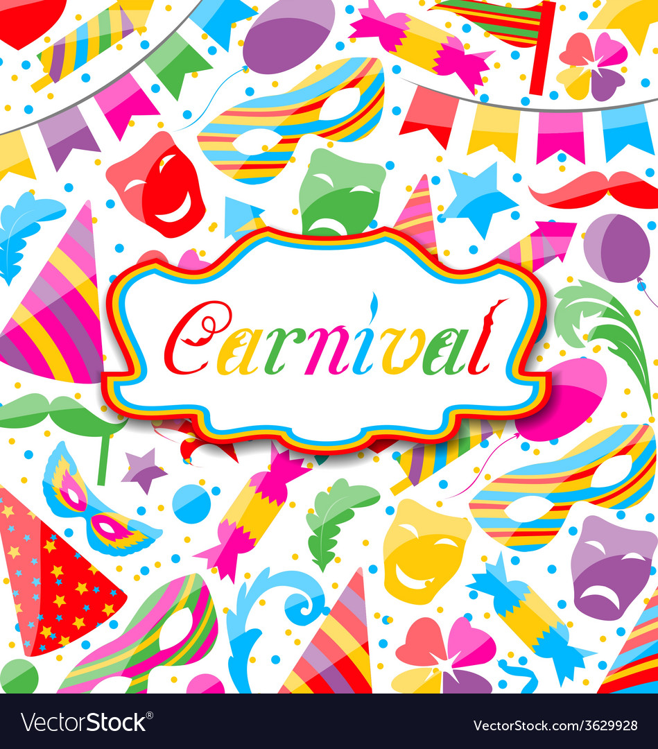 Festive card with carnival and party colorful vector | Price: 1 Credit (USD $1)