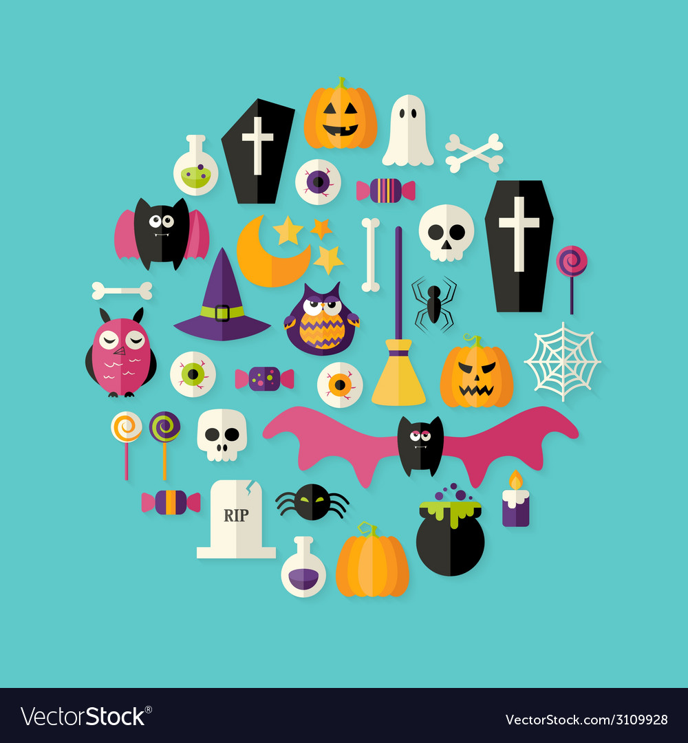 Halloween flat icons set over blue vector | Price: 1 Credit (USD $1)