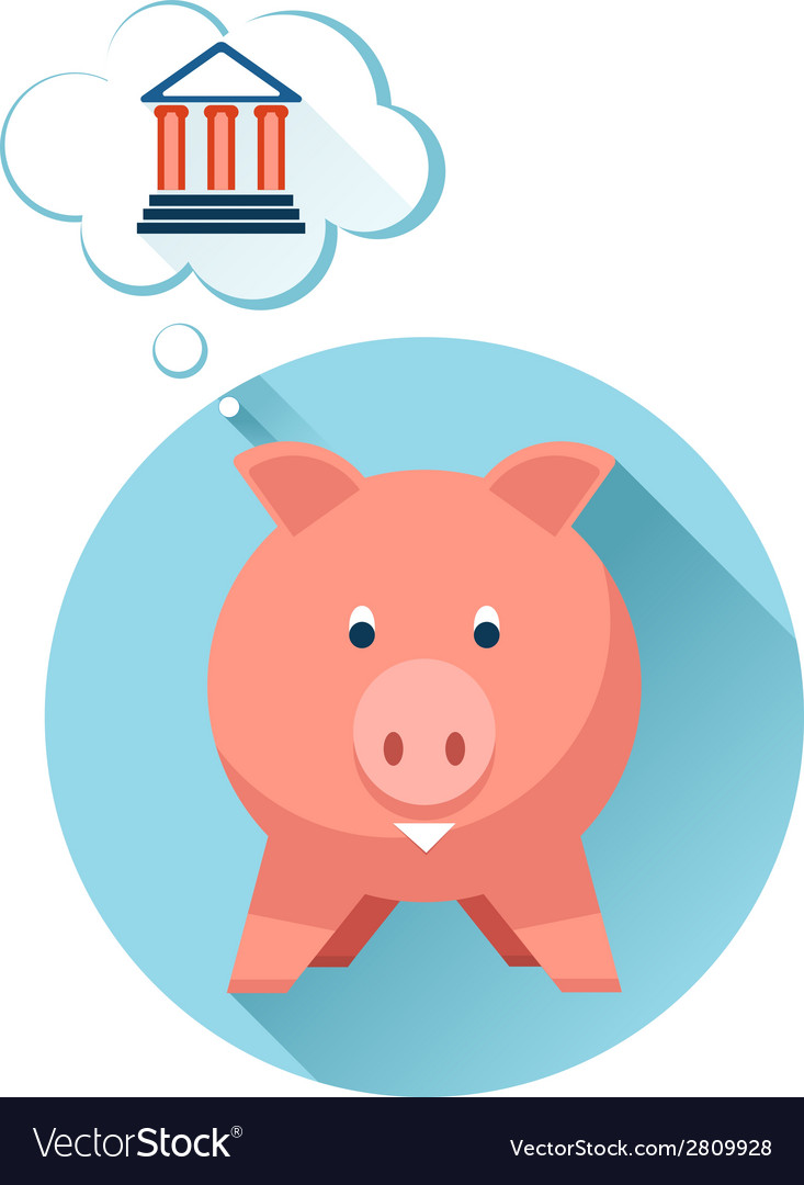 Happy pig with bank symbol vector | Price: 1 Credit (USD $1)