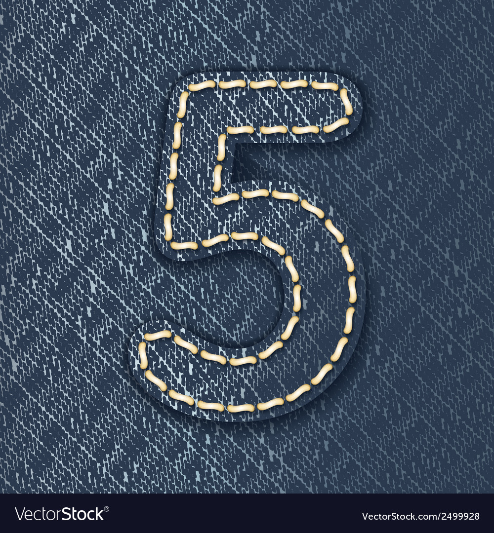 Number 5 made from jeans fabric vector | Price: 1 Credit (USD $1)