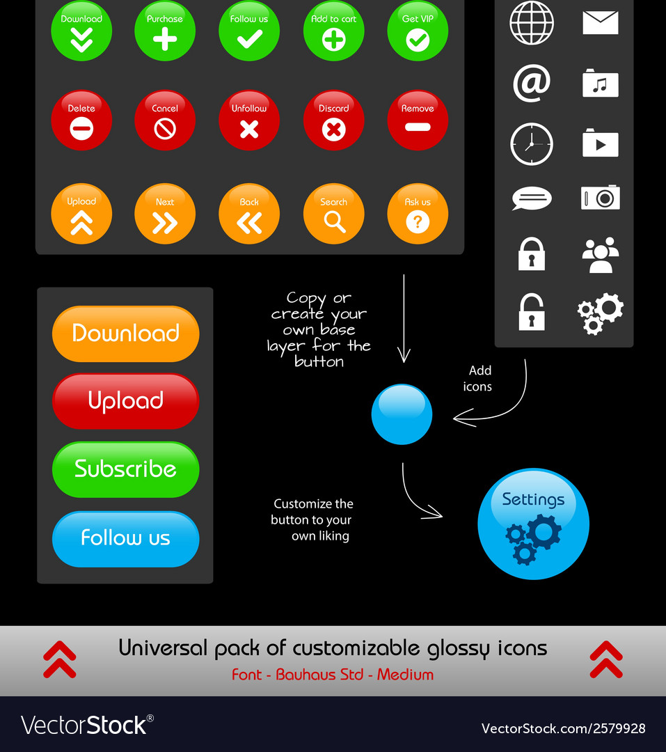 Set of customizable web and phone app buttons vector | Price: 1 Credit (USD $1)