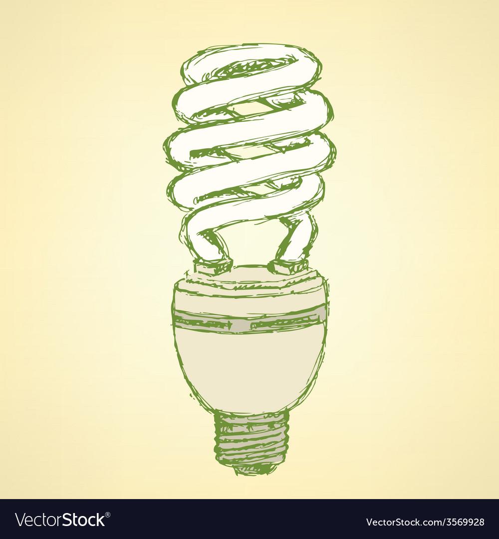 Sketch economic light bulb in vintage style vector   Price: 1 Credit (USD $1)