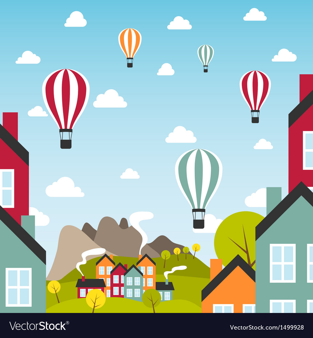 Small town with air balloons vector | Price: 3 Credit (USD $3)